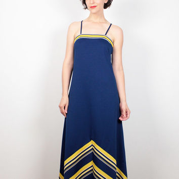 Vintage 70s Dress Navy Blue Yellow White CHEVRON Striped Maxi Dress Mod 1970s Dress Hippie Dress Geometric Shift Sundress S Small M Medium