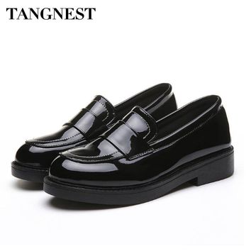Tangnest Patent Leather Ocfords Shoes Women Spring Comfortable Point Toe Casual Woman Flats Slip-on Woman Shoes Black XWP261