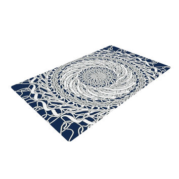 "Patternmuse ""Mandala Spin Navy"" Blue White Woven Area Rug"