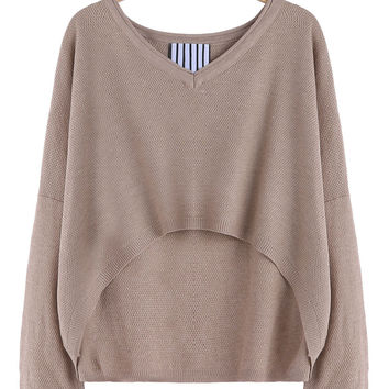 Khaki V Neck Long Sleeve Short Front Knitwear