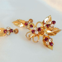 Red Gold Brooch and Earring Vintage Jewelry Set