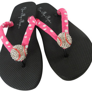 Hot Pink Polka Dot & Black Baseball Bling Rhinestone Flip Flops
