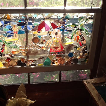 "Stained Glass Mosaic Window Art / Sun Catcher  32"" x 19""  Beach Scene OOAK Mothers Day , Summer, Vacation OOAK"