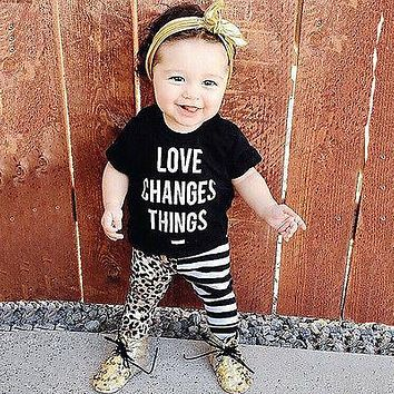 2016 summer fashion baby girl clothes kids short-sleeved letter priend t-shirt+pants newborn baby girls clothing set