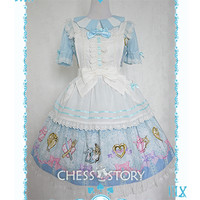 Chess Story 【Alice's Mad Tea Party】OP Dress With Apron Set Free Ship SP141092