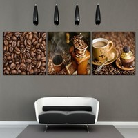 Canvas Print Food Painting 1Pcs/3Piece Coffee Machine Coffee Beans And Coffee Poster Modern Home Decorative Wall Art Picture