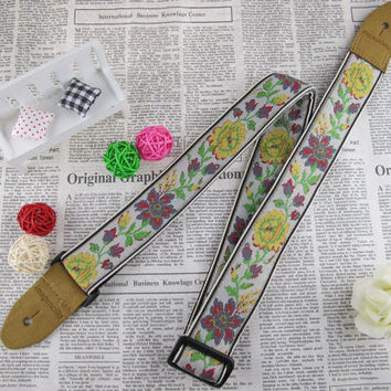Imagencilla Guitar Strap Jacquard Ribbon Belt Beige with Rose Flower pattern 40mm JF001FA