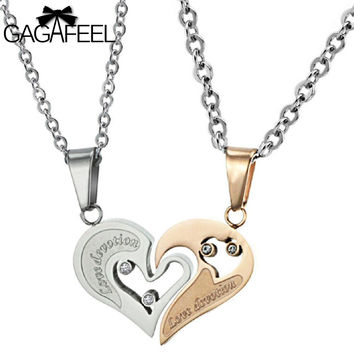 Fashion Stainless Steel Gold Plated Fine Jewelry Men Women Couples Pendant Necklace Love Heart Crystal Natural Stone Gifts N537