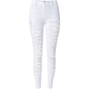 Ripped White High Waste Skinnies
