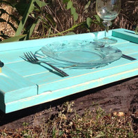 Shabby chic distressed turquoise rustic wooden serving tray with handles, rustic wedding, wedding gift