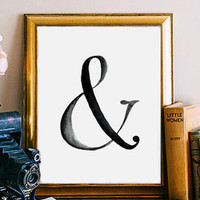 Ampersand Print Typography Poster Black and White Ampersand Sign Home Decor Ampersand Wall Art Wall Decor Watercolor Print BD-002