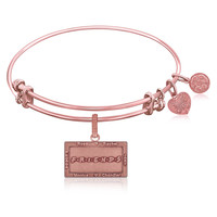 Expandable Bangle in Pink Tone Brass with Friends Logo Symbol