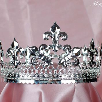 Men's Tiara Diadem Imperidal Medieval Fleur De Lis Silver Crown Austrian Rhinestones Crystal Pageant Party Costumes