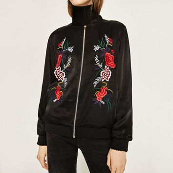 Women Embroidered Satin Bomber Jacket Fashion Euro Style High Quality Embroidery Coat For 4 Season