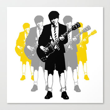 Angus Young Stretched Canvas by Alan Hogan