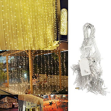 Ucharge Led Light Curtain Icicle Lights 300led 9.8feet 8modes Linkable Warm White Christmas Curtain String Fairy Wedding Lights for Home, Garden, Kitchen, Outdoor Wall, Party, Window Decorations