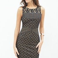 LOVE 21 Embroidered Lace Bodycon Dress Black/Nude