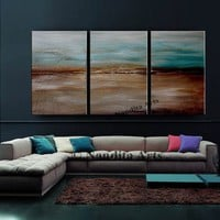 """Abstract Painting 72"""" Landscape Art Acrylic Painting on Canvas Luxury Style Large Modern Wall Art, Contemporary Art Office Decor by Nandita"""