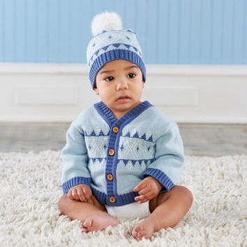 Baby Aspen BA25009BL Blue Fair Isle Cardigan and Pom Pom Hat