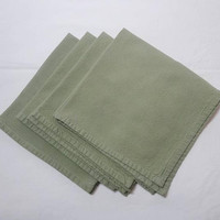 4 Vintage 1960s Medium Green Cotton Dinner Napkins, 17.5 In. Square, Herringbone Weave, Med. Weight, Vintage Dinner Linens, Casual Table