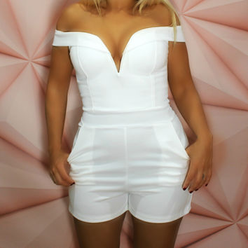 Play Time - White Off The Shoulder Playsuit