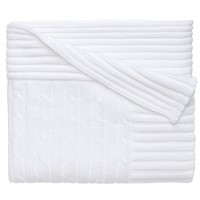 Classic Cotton Cable Knit Blanket (White)