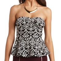 BOW FRONT TRIBAL STRAPLESS PEPLUM TOP