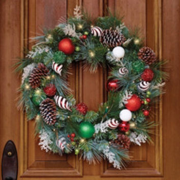 The Cordless Prelit Festive Twist Holiday Wreath - Hammacher Schlemmer