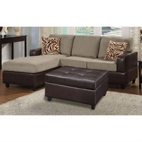 3-Piece Reversible Sectional Sofa with Ottoman in Pebble Color