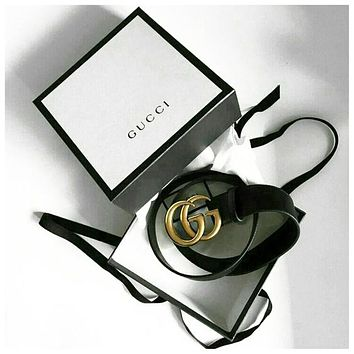 GUCCI Belt Woman Men Fashion Smooth Buckle Belt With Gift Box