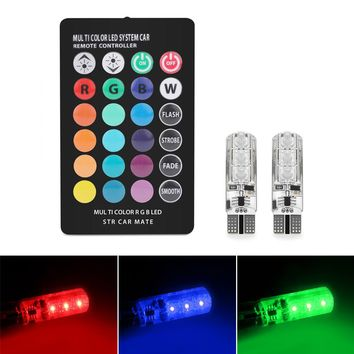 2pcs Car Remote Control RGBW T10 W5W 168 194 6-LED Reading Wedge Lights Tail Box Light 16 Colors Width Light License Plate Lamp Side Marker Bulbs SMD 5050 12V
