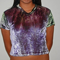 Galaxy Violet Velvet  Crop Top
