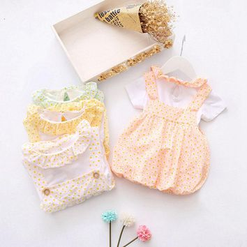 Summer Baby Girls Cotton Short Sleeve Ruffles Collar T-Shirt + Polka Dot Overalls Sundress 2pcs Kids Dress vestido infantil