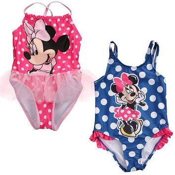 2017 Kids Swimwear Cartoon Mouse Print Toddler Girls Swimsuit Bikinis Tankini Bathing Suit Bather Costume Baby Girls Beachwear