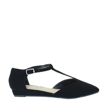 Pointed T-Strap Low Wedge Flat