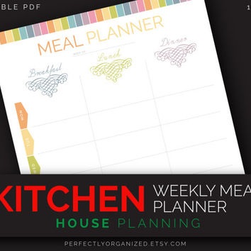 Weekly Menu, Meal Planner by days of the week, Week Menu, Kitchen Printable Planner, DIY Pastel Binder Organizer || Household PDF Printables