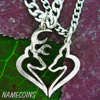 Buck and Doe Heart Hunters Kissing Necklace Set, Half Dollar, hand cut coin