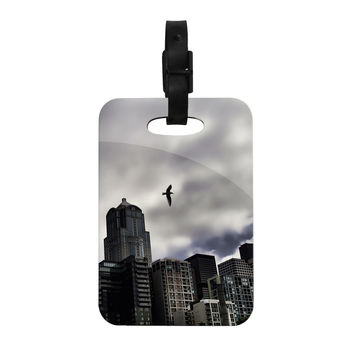 "Sylvia Cook ""Seattle Skyline"" City Clouds Decorative Luggage Tag"