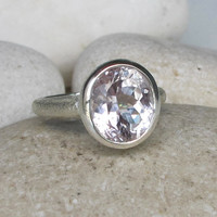 Sale Oval Promise Ring- Bridal Ring- Morganite Ring- Unique Engagement Ring- Statement Ring- Proposal Ring- Anniversary Ring- Commitment Rin