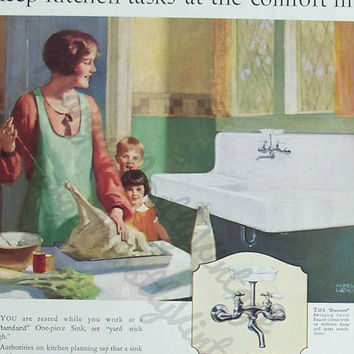 Vintage Standard Plumbing Fixtures Ad on back of House & Garden Magazine Cover Nov 1926