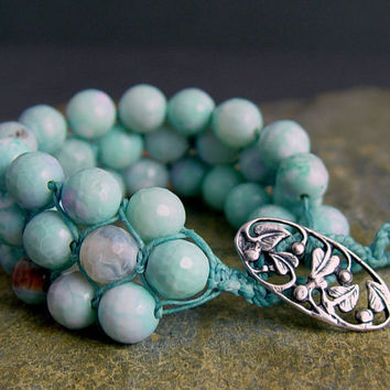 Turquoise Blue Fire Agate Beaded Cuff Sterling by UrbanCorner