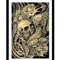 Koi & Skull Art Print by Artist Clark North