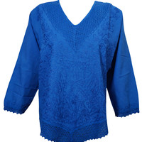 Boho Gypsy Hippy Chic Women Blouse Embroidered Long Sleeves Summer Comfy Tops