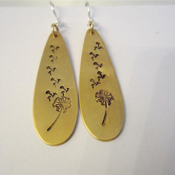 Teardrop Earrings, Brass, Hand Stamped, Dandelion Drop Earrings