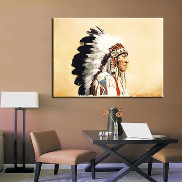 Abstract Native American indian Feathered Portrait Pop Art Canvas Painting Poster Wall Art Picture for Living Room Home Decor