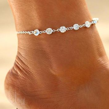Crystal Anklets For Women Link Chin Bohemian Foot Jewelry