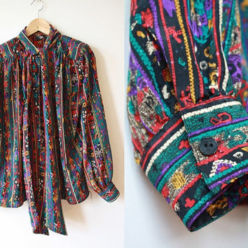 Ethnic / Tribal Designs Multicolored Secretary Blouse Womens L - XL