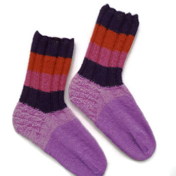 SALE! Swollen  feet  handmade striped women wool socks, diabetic socks, Winter socks, wool socks, House socks, Casual socks, Unique socks