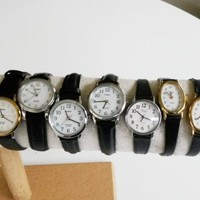 Timex Round & Oval Quartz Ladies Wrist Watch Lot of 7 Indiglo Leather Strap Date