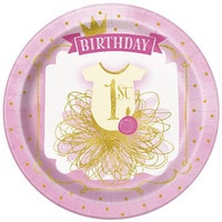 Pink '1st Birthday' Princess Plate - 8 Pack - Paper Party Plates-Girls birthday party-Princess party